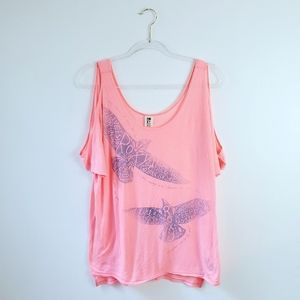 Roxy Cold Shoulder Flying Bird Top Size XL